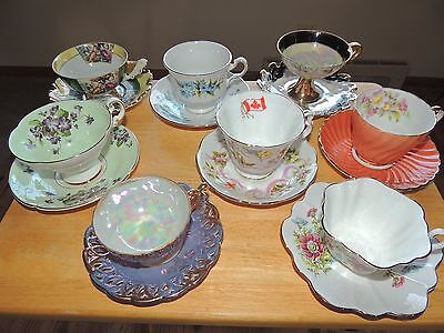 8  Royal Albert, Queen Anne, Aynsley, Lifton Tea Cups And Saucers Bone China