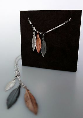 SOLID SILVER 925 LONG NECKLACE BRACELET FEATHER BOHO SET new with box