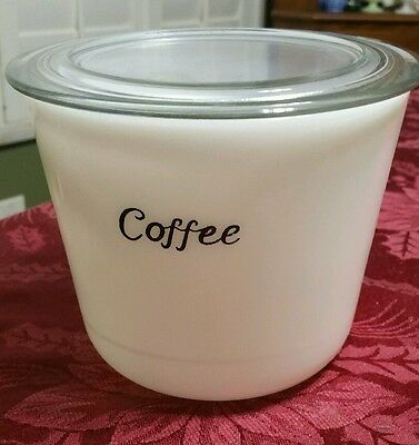 Vintage McKee Milk Glass Coffee Canister With Lid