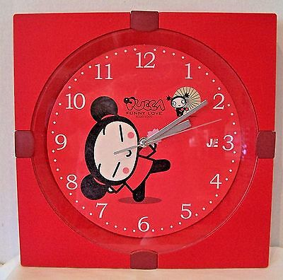 Pucca Funny Love Red Plastic Clock