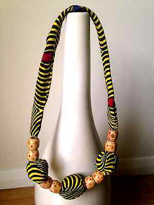 African Handmade Fabric Necklace - Yellow and Black stripes with brown beads