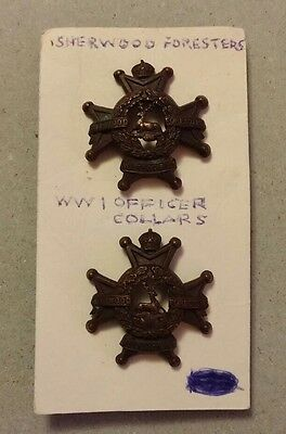 Canada Ww1 Sherwood Foresters Officer Collars Set Of 2- Mint Condition