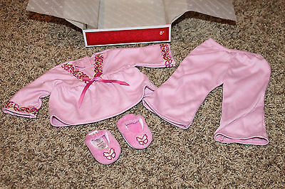 NEW American Girl Doll JULIE PINK PAJAMAS + SLIPPERS Classic 1970s Ivy Retired