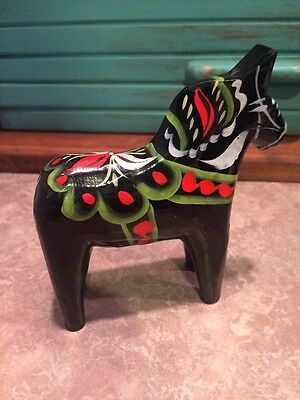 "Vintage Nils Olsson Hand Painted Dala Horse 4"" BLACK made in Sweden"