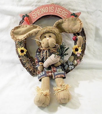 SPRING is HERE Wreath W Plush Bunny Rabbit for Wall or Door Easter Spring Decor