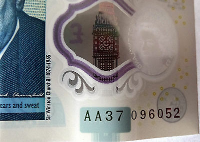 Bank Of England New Polymer £5 Five Pounds ** AA37 Note **