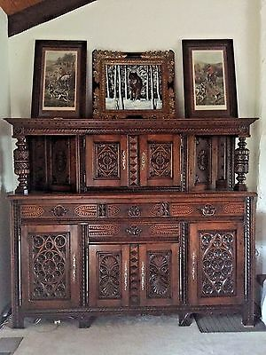 Very Rare and stylish Huge Oak  French Breton Antique buffet From France