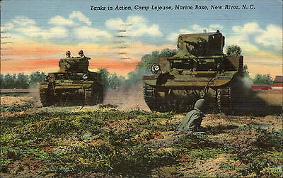 Camp Lejeune Marine Base New River North Carolina NC tanks soldiers WWII 1943