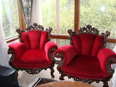 ANTIQUE Red French Rococo style ornate chair sofa one  pair