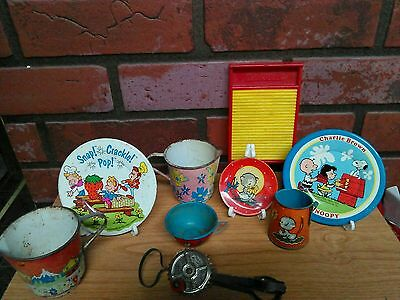Lot of childrens tin dishes & doll clothes washboard