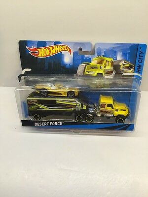 Hot Wheels Yellow Desert Force Haul Truck W/car