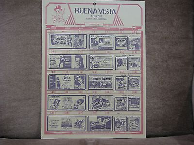 Vintage Buena Vista ,ga Theatre Movie Calendar Handout Elvis Presley Jan. 1957