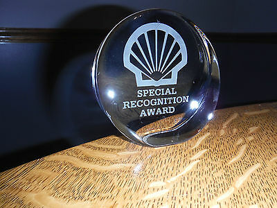 Shell Oil Advertising Special Recognition Award Glass Paperweight