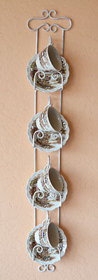 Cup and Saucer Vertical Wall Rack - White Iron 4 Place