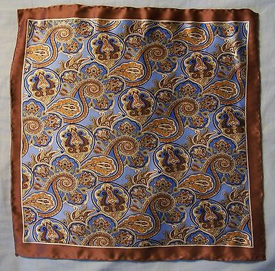 Blue and Brown Paisley Pocket Square Rolled Edges 100% Silk
