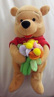 "New Collectable 8"" Disney Winnie the Pooh Flower Pooh holding Flowers SOFT TOY"