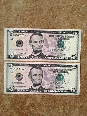 2 $5 Note Bill Star Uncirculated Bank Of Boston