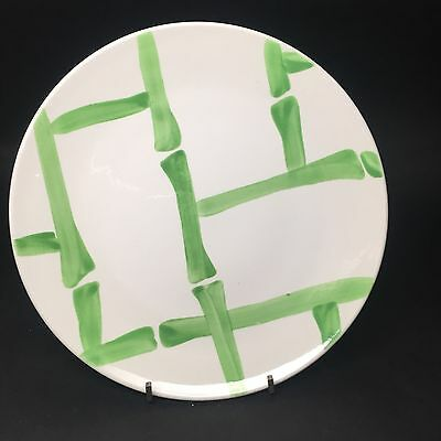 """Vintage STANGL Pottery Plate  BAMBOO White With Green Hand Painted  8"""""""