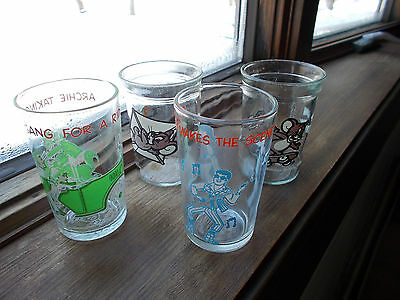 Vintage Archie and Tom and Jerry Jelly Glasses, Lot of 4
