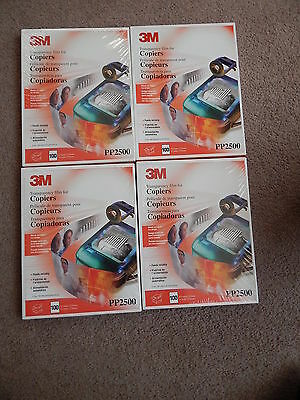 """Lot of 4 100 Count Each 3M PP2500 Transparency Film for Copiers 8-1/2"""" x 11"""""""