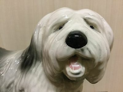 Pottery Old English Sheepdog / Dulux Dog Statue / Ornament / Sculpture