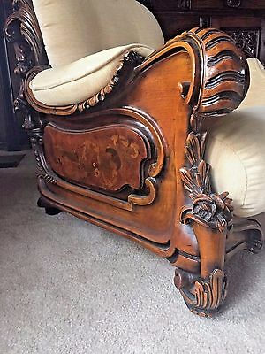 ANTIQUE French Walnut Rococo style Inlaid Flower ornate chair sofa one piece