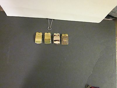 Lot of 4 Military Belt Buckles 2 brass , 1 brass  9th keep up the fire, 1 silver