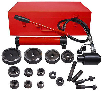 New 15 Ton Red Hydraulic Knockout Punch 10 Dies Draw Studs Tools Set Kit