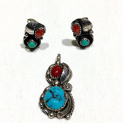 Vintage NAVAJO STERLING SILVER TURQUOISE & CORAL Pendant NECKLACE & EARRINGS SET
