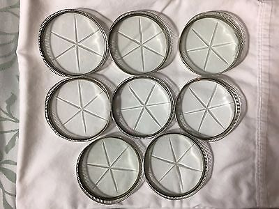 Set of 8 Vintage Sterling Silver and Glass Coasters with Etched Star Pattern