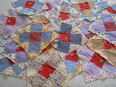 Lot of 24 Vintage X or Cross Quilt Blocks-Hand Stitched-Some Feedsack Fabric