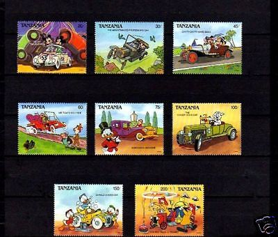 Tanzania - 1990 - Disney - Cars - Mickey - Love Bug - Fire Truck + 8 X Mint Set!