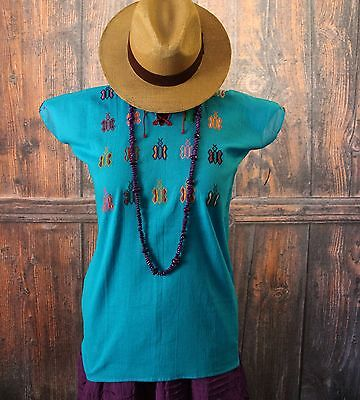 Turquoise Huipil Hand Embroidered Butterfiles Mayan Chiapas Mexico Hippie Boho
