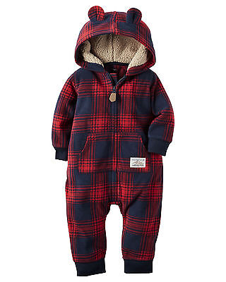 Carters 3 12 Months Hooded Fleece Jumpsuit Coveralls Baby Boy Clothes