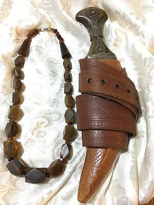 Ancient and rare, precious Horn bead necklace, horn hilt Dagger and leather belt