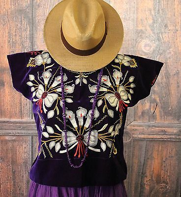 Hand Embroidered Tehuana Mexico Silver on Purple Velvet Huipil Frida Cowgirl