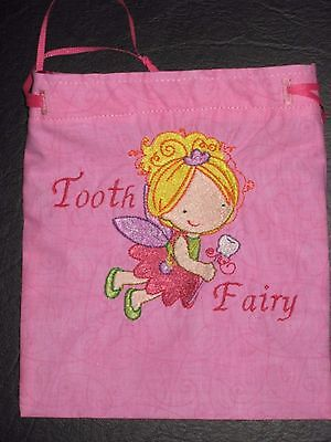 Tooth Fairy Bag, Embroidered Pink Girl Fairy Tooth Fairy with Poly Satin Lining