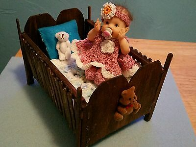 Handmade Crib For Ooak Clay Or Silicone Babies Up To 6 Inches