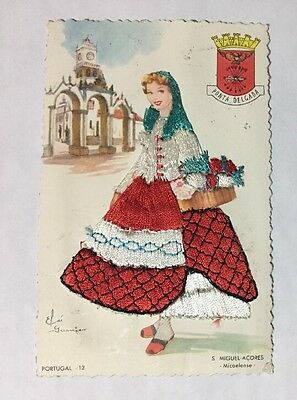 Vintage Gumier Portugal 12 Silk Embroidered Woman Postcard