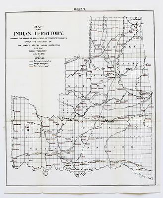 1902 Indian Territory Oklahoma Map Five Civilized Tribes Townsite Appraisements