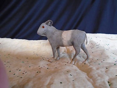 Large Vintage Putz Spun Cotton Horned Sheep With Glass Eyes