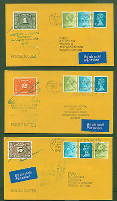 Canada Revenue Customs Duty Stamps on 3 GB Printed Matter Covers 1980