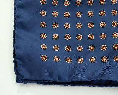 Hand Rolled Silk Pocket Square Navy Foulard Made in Italy Handkerchief