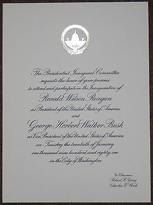 Reagan Vintage 1981 Inaugural Invitation in MINT Condition + FREE Shipping