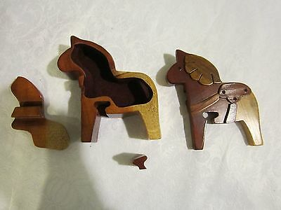 Wood Horse Puzzle Box Trinkets Jewelry Collectible equestrian riding cowboy gift