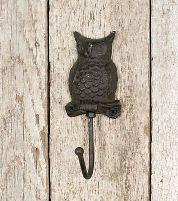 Cast Iron Owl Coat Hook Wall Mount Rustic Wildlife Decor