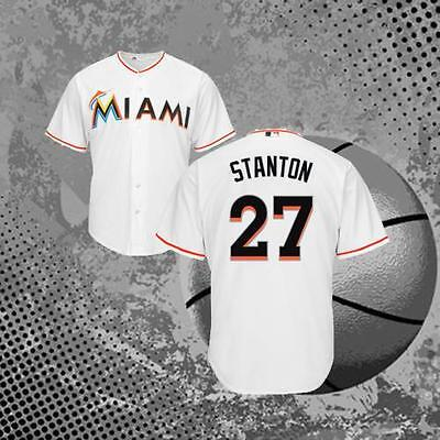 Giancarlo Stanton Miami Marlins 27# Jersey Cool Baseball Jersey White
