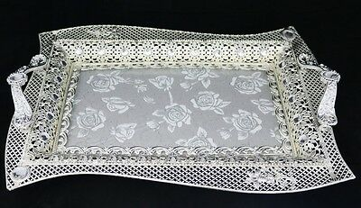 New Silver Coloured Serving Tray With Handles 22588