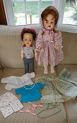 """22"""" Saucy Walker and Posie doll lot clothing Ideal vintage walker NR"""