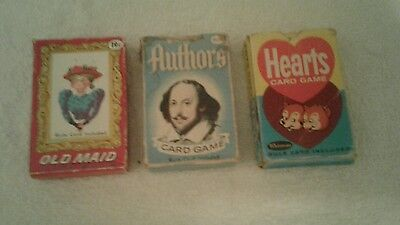 Vintage lot 3 Whitman Card Games Old Maid, Authors & Hearts  Complete includes r